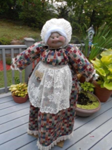 Vacuum Cover Soft Sculpture Grandma - Jeweltone Patchwork with Hearts - $85.00