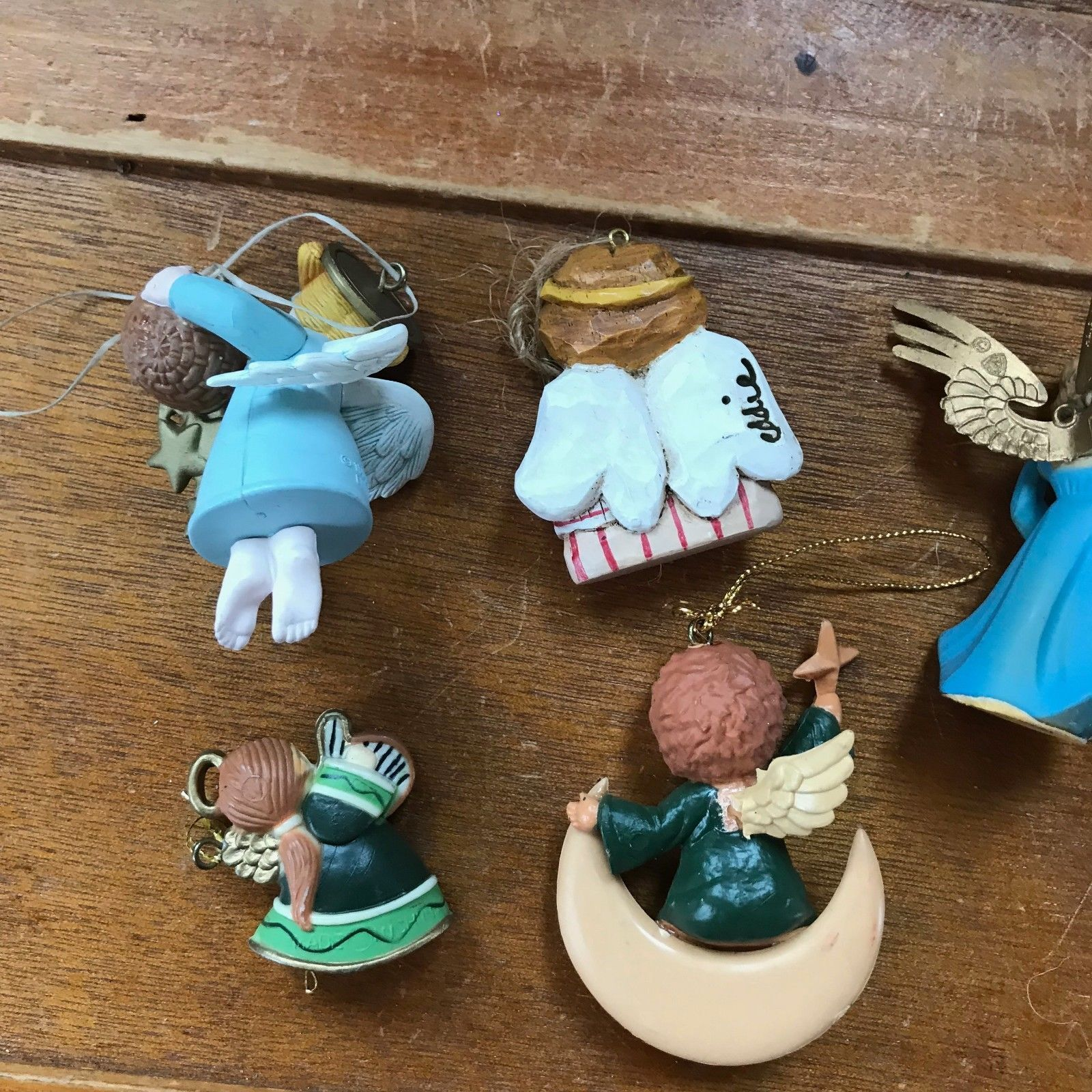 Estate Lot of Small Plastic & Carved Resin ANGEL Christmas Tree Ornaments – one