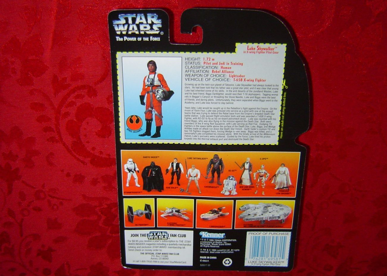 Star Wars Luke Skywalker x-wing long saber .00 red card POTF