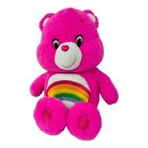 "Care Bears Cheer Bear Just Play 14"" Pink Soft Plush Rainbow 2015 Stuffed... - $14.49"