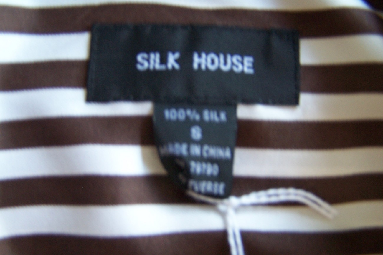 Blouse Long Sleeve Small Brown White Silk Silk House