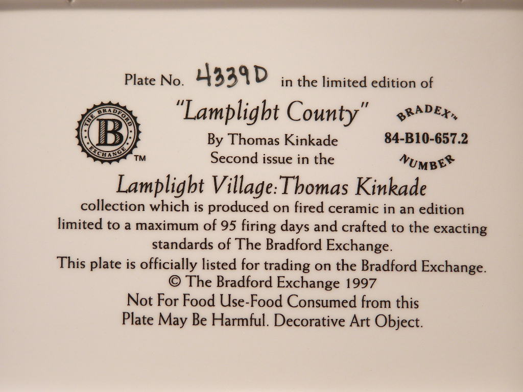 """""""Lamplight County"""" by The Late Thomas Kinkade - Second Issue  - (sku#1720)"""