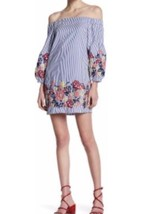 Romeo And Juliet Couture Off The Shoulder Striped Embroidered Blue Multi... - $38.69