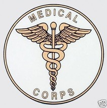Army Medical Corps Military Car White Gold Decal - $13.53