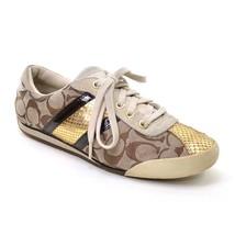 COACH Meagan CC Signature SNEAKERS Ladies size 7.5 M Khaki Gold Lace Up ... - $37.39