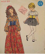 Butterick 6003 Vintage 70s Girls 8 Peasant Skirt Blouse Chin - $9.95