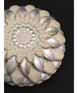 Concrete Paperweight - Chrysanthemum - Silver Highlights - $18.00