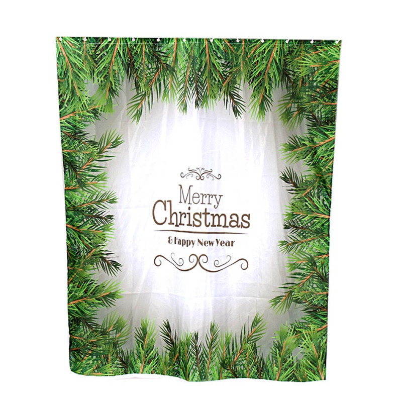 Custom merry christmas fabric waterproof bathroom shower curtain gift wholesale high quality j05