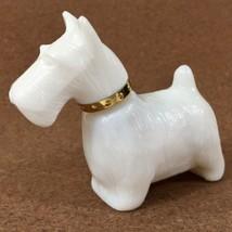 Vintage Avon Milk Glass White Scottish Terrier Dog Unforgettable Cologne... - $13.98