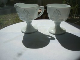 Indiana Glass Harvest Grape Milk Glass Creamer & Sugar Set - $19.79