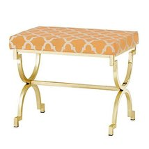 Modern Transitional Moroccan Print Upholstery Vanity Stool with Gold Pla... - $167.63