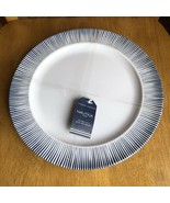 Nautica Home White & Blue Pin Stripe Melamine Dinner Plates Set Of 4 NWT - $34.65