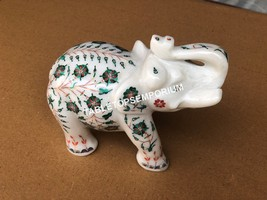 "4"" Marble Standing Elephant Figurine Malachite Inlay Stone Showpiece Dec... - $510.65"