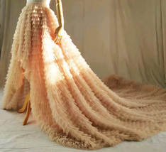 High Low Tulle Skirt Wedding Bridal Tiered Tulle skirt Champagne Tulle Ball Gown image 2