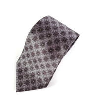 Bill Blass Black Label Silver Geometric Squares Circles Silk Tie Necktie - $6.43