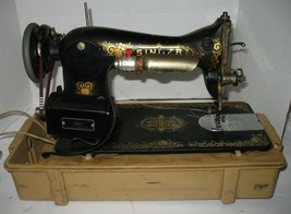 Vintage Singer Black Sewing Machine with Foot Pedal in Case Tested Works - $182.16