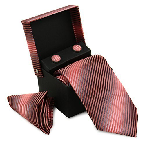 Berlioni Men's Silk Neck Tie Box Set With Cufflinks & Pocket Square (2104 - Peac