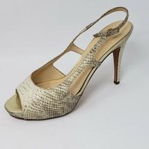 Kate Spade Slingback Snake Embossed Leather Sandal Heels Pumps Size 8.5 - $51.43