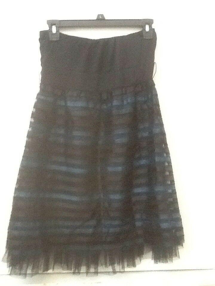 Petro Zillia Forever 21 Size S Strapless Blue & Black Semi Formal Dress Juniors