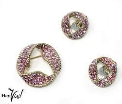 Iridescent Pink Pave Rhinestone Pin & Clip On Earring Set - Hey Viv Vintage - $24.00
