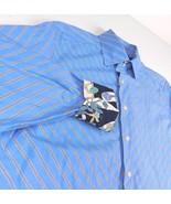 Robert Graham Blue Angled Striped Flip Cuff Dress Shirt Sz L KWT - $29.99