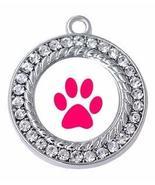 Dog Charm - Small Round Paw with Crystals Jewelry Silver-tone dog pawpri... - $3.91