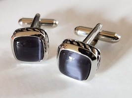 Charcoal Grey Cats Eye cufflinks, silver engraved pattern around real natural  image 1