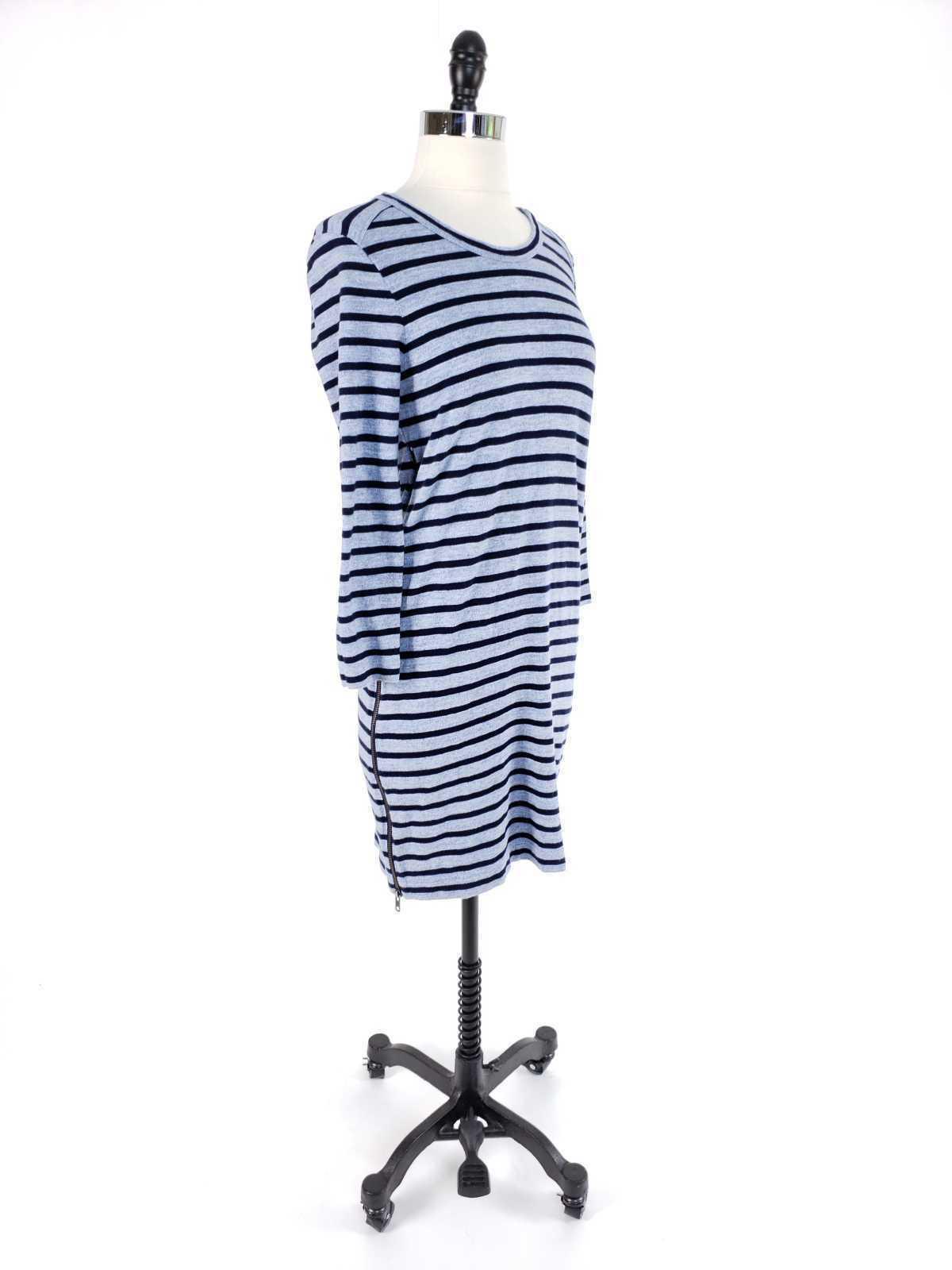 J.Crew Women XS Dress Striped Side Zip Tshirt Cotton Long Sleeve Casual image 3