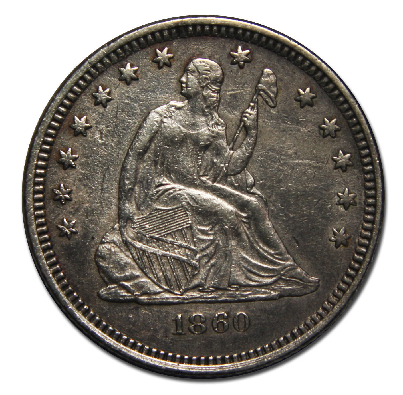 1860O Seated Liberty Silver Quarter Dollar .25 Coin Lot # MZ 3976