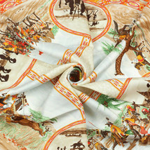 Hermes Scarf CAVALIERS PEULS Silk Carre FOUGEROLLE 90cm - €249,19 EUR