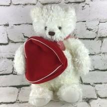 Hallmark 2003 From My Heart Stuffed White Teddy Bear Plush ZIPPERED Hear... - $14.84