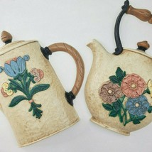Set of 2 Home Interiors Burwood Pansy Floral Coffee Pot Tea Pot Wall Art Vtg   - $17.50