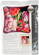"Dimensions Needlepoint Kit 14""X14""-Bouquet On Black Stitched In Thread - $32.88"