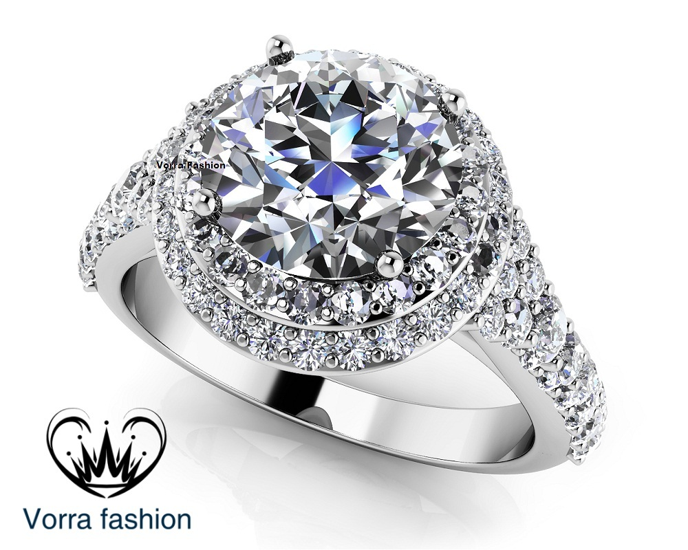 Solitaire With Accents Wedding Band Ring 14k White Gold 925 Silver Round Cut CZ - $78.99