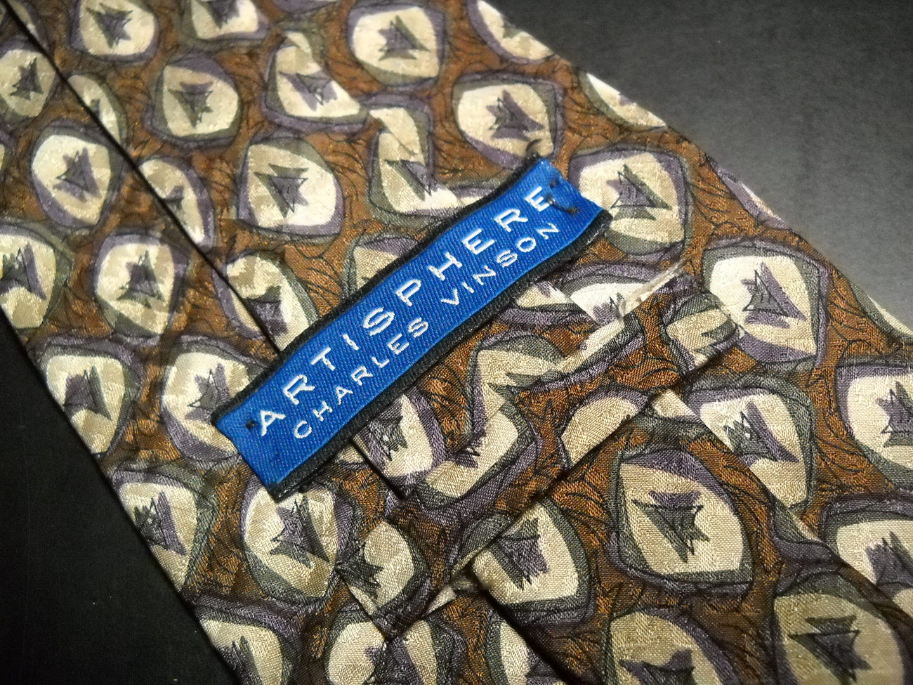 Charles Vinson Artisphere Neck Tie Browns with Accents Silk