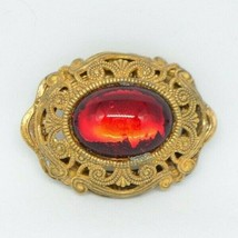 Miriam Haskell Red Glass Cabochon Garnet Art Nouveau Gold Tone Brooch Pin - $98.99