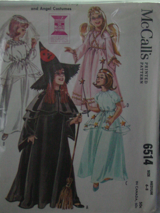 Pattern 6514 Vintage Girl's Costumes size Med 6-8 (used)