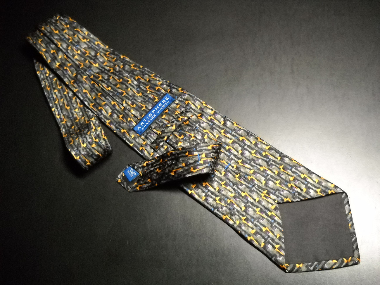 Charles Vinson Artisphere Neck Tie Greys Golds Blues Purples Imported Silk