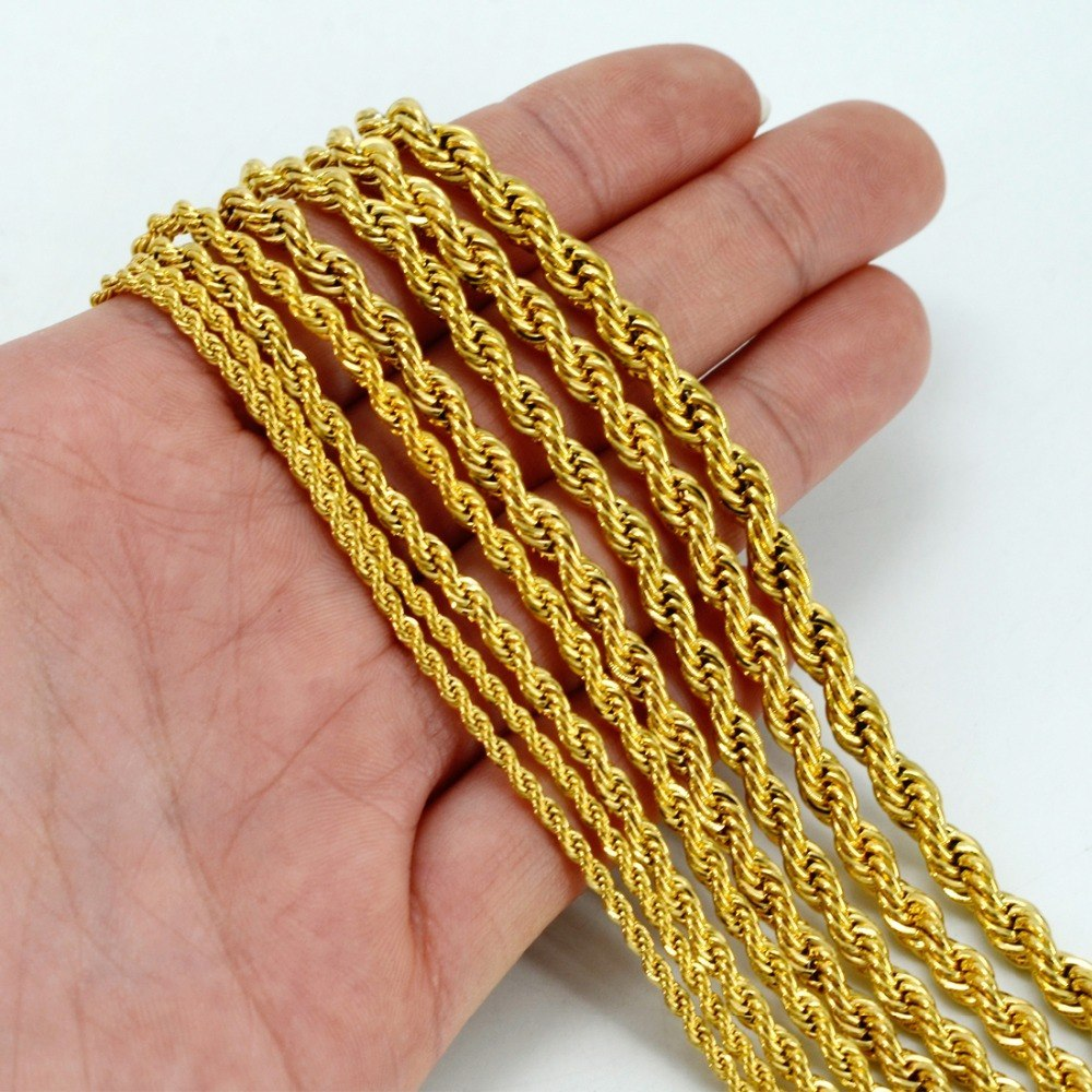 Primary image for ONLY ONE PIECE.Men Gold Necklace.50CM/60CM Chain for Women.Gold Color