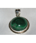 Handcrafted Malachite and Sterling Silver Pendant - $30.00