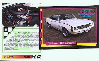 1969 69 BERGER COPO 427 CHEVY CAMARO PROMO FACT CARD