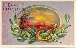 A Bright New Year 1914 Vintage Post Card - $4.00