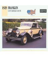 1929 29 FRANKLIN CONVERTIBLE COUPE COLLECTOR - $6.75