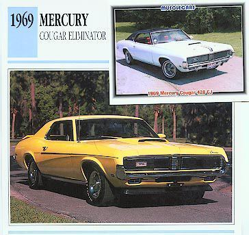 1969 69 MERCURY COUGAR ELIMINATOR COLLECTOR INFO CARDS