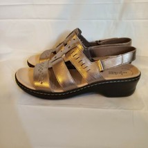 Clarks Lexi Qwin Leather Cut-Out Lightweight Comfort Strappy Sandals 12 W Pewter - $39.55