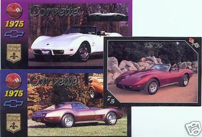 1975 75 CHEVY CORVETTE VETTE COLLECTIBLE CARDS NICE