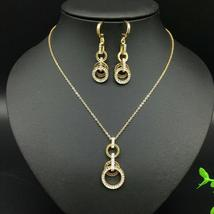 TwoLayer Size Circle of Love Earrings Necklace Jewelry Set