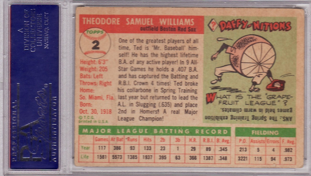 Ted Williams 1955 Topps #2 PSA 3 VG