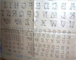 1930's Monograms Oriental script transfer ORG - $10.00