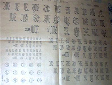 1930's Monograms old english script transfer ORG